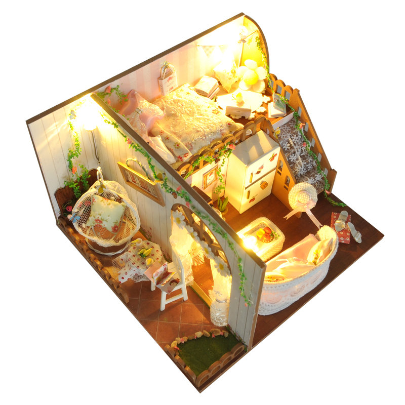 Spring Flowers House DIY Dollhouse With Light Cover Miniature Model Gift Collection