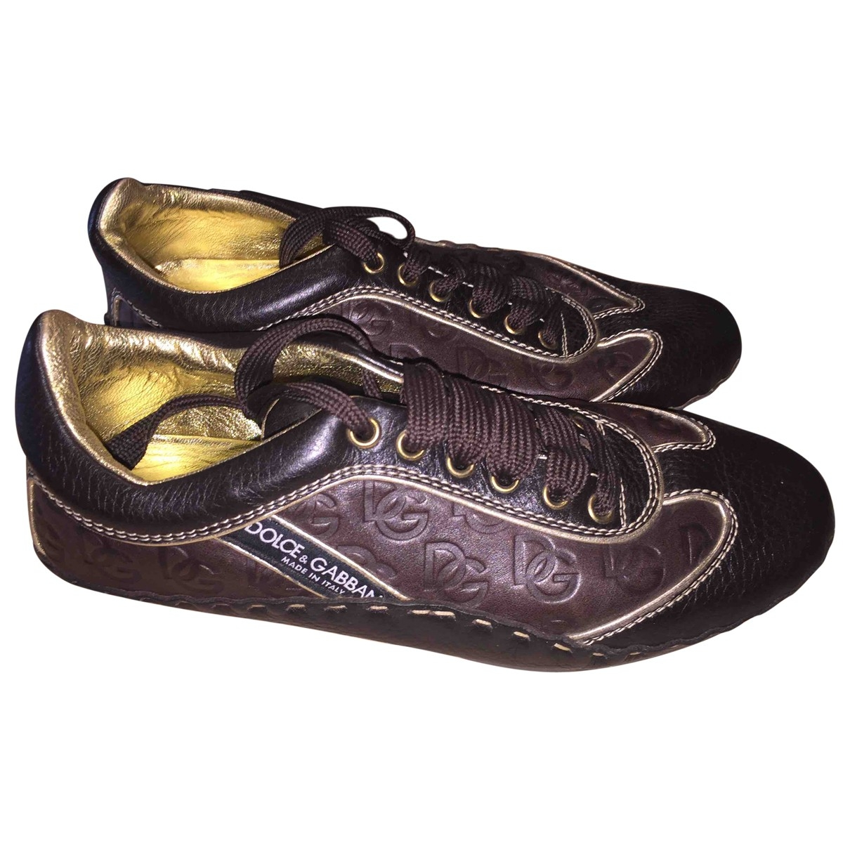 Dolce & Gabbana \N Brown Leather Trainers for Women 39 EU