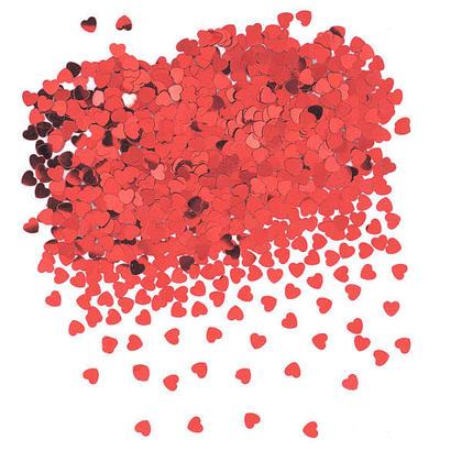 Confetti de table en forme de coeur feuille métallique rouge Saint Valentin, 0.5oz