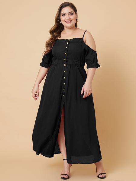 Yoins Plus Size Button Design Cold Shoulder Half Sleeves Dress