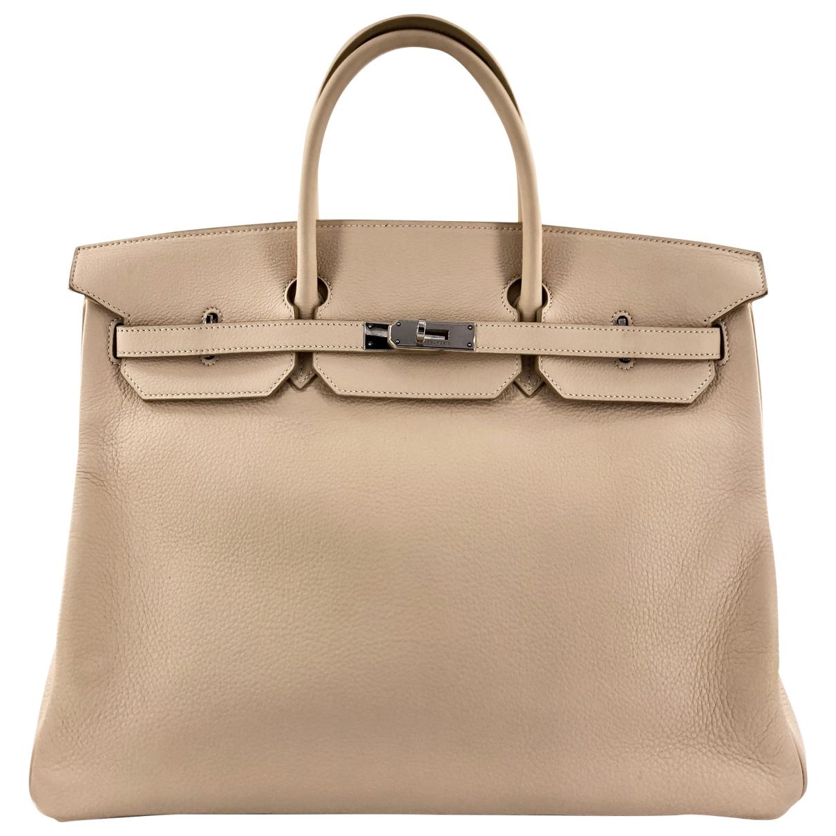 Hermes - Sac a main Birkin 40 pour femme en cuir - beige