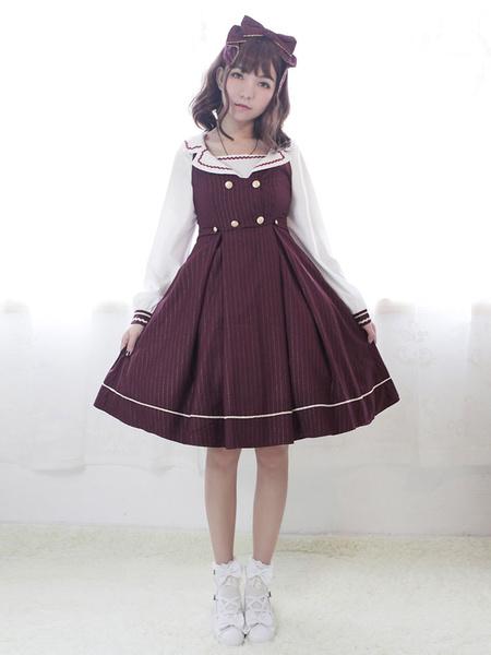 Milanoo Classic Lolita Dress Neverland Morning Star Idol Academy JSK Burgundy Stripe Sailor Collar Lolita Jumper Skirt Original Design