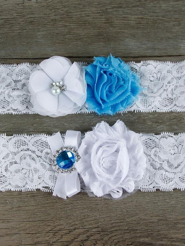 Ericdress Gemmed Flowers Lace Wedding Garters