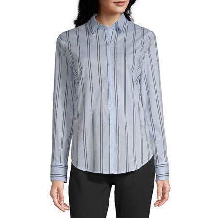Worthington Long Sleeve Essential Shirt - Tall, Medium Tall , Blue