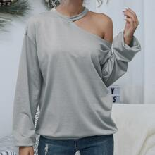 Camisetas Cut-out Liso Casual