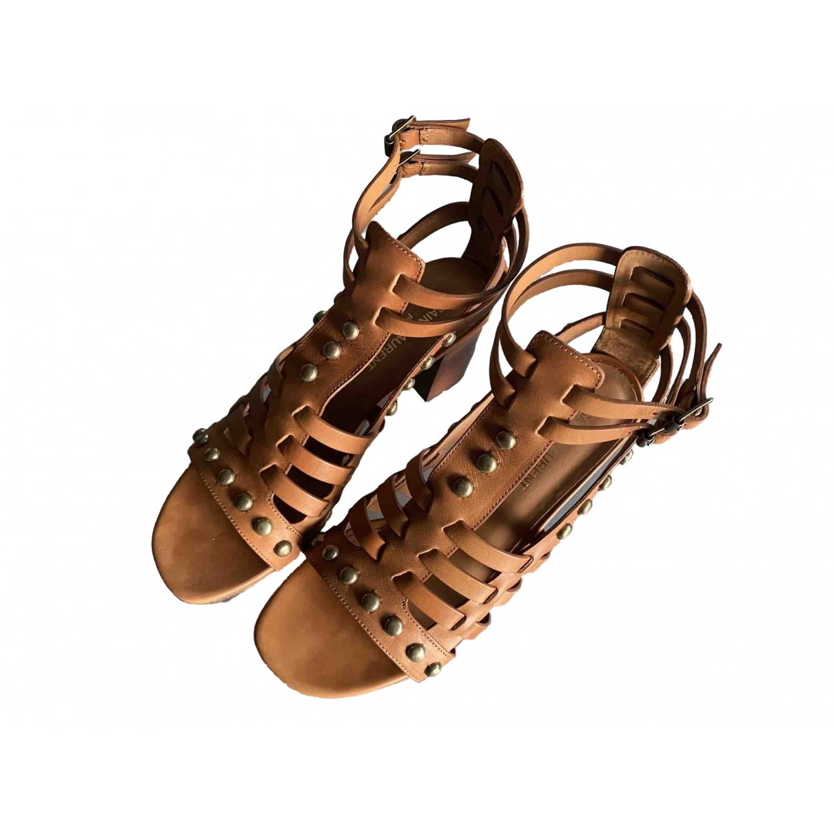 Saint Laurent \N Brown Leather Sandals for Women 38 EU