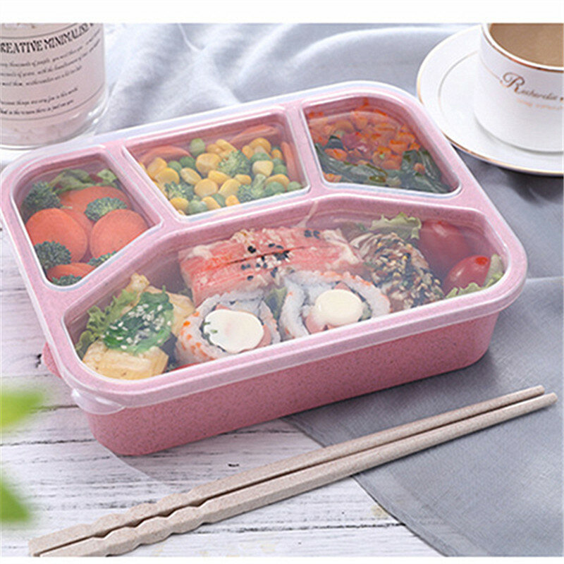 Microwavable Healthy Bento Box Lunch Box With Compartments BPA Free Wheat Straw Food Storage