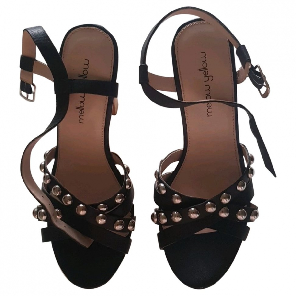 Mellow Yellow \N Black Leather Sandals for Women 37 EU