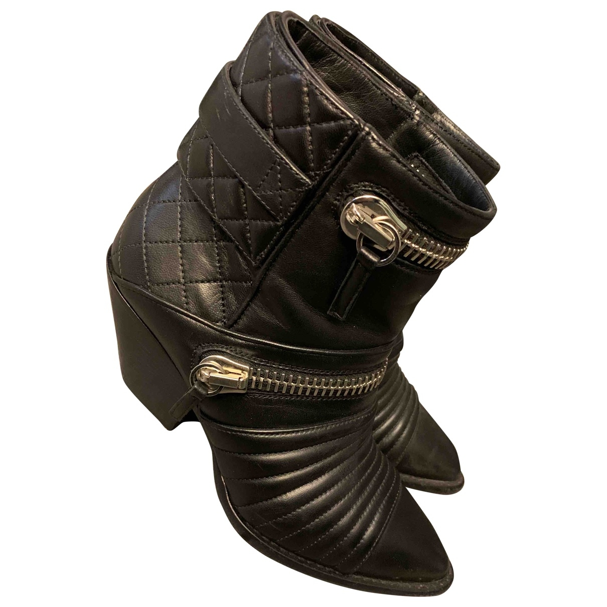 Giuseppe Zanotti \N Black Leather Ankle boots for Women 37.5 EU