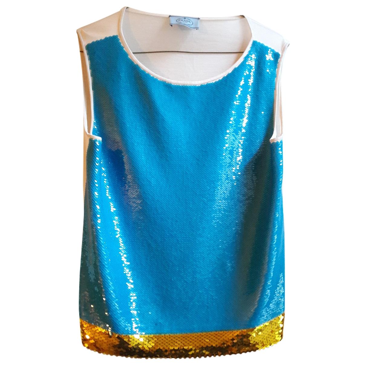 Prada - Top   pour femme en a paillettes - turquoise
