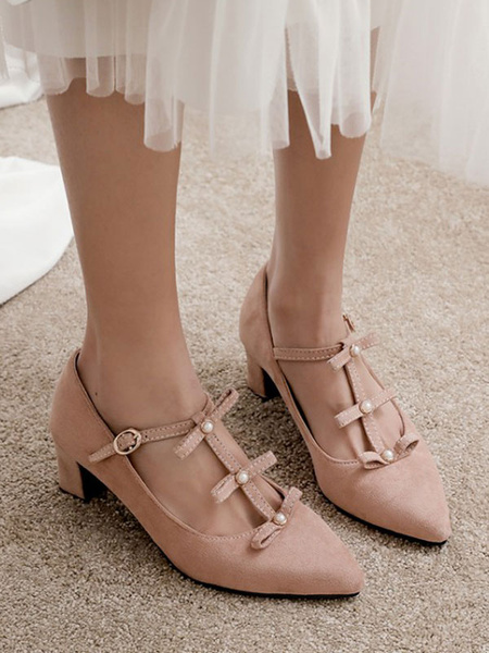 Milanoo Mid-Low Heels For Women Pointed Toe Pink Pearls Chunky Heels Slip-On Suede Elegant Bows T-Type Bandage Pumps