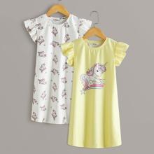 2 piezas camison de niñas con estampado de unicornio ribete fruncido