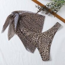 2pack Leopard Bikini Panty With Beach Skirt