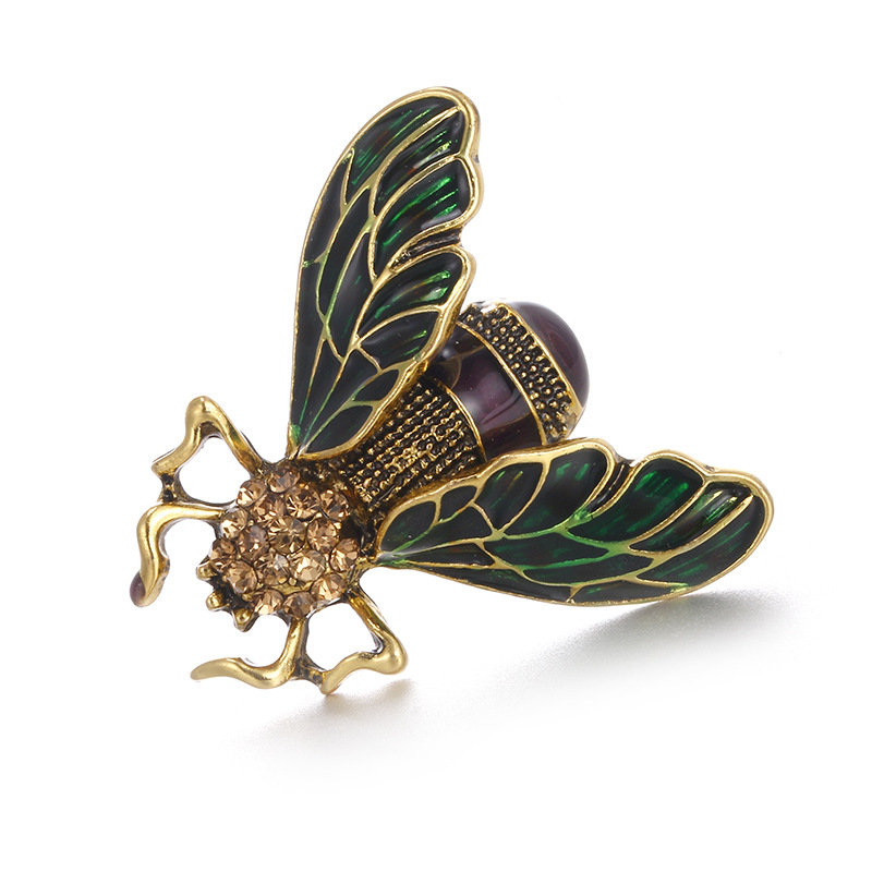 Vintage Cicada Insect Brooches Pins Steampunk Bronze Rhinestone Enamel Brooches Costume Jewelry Gift