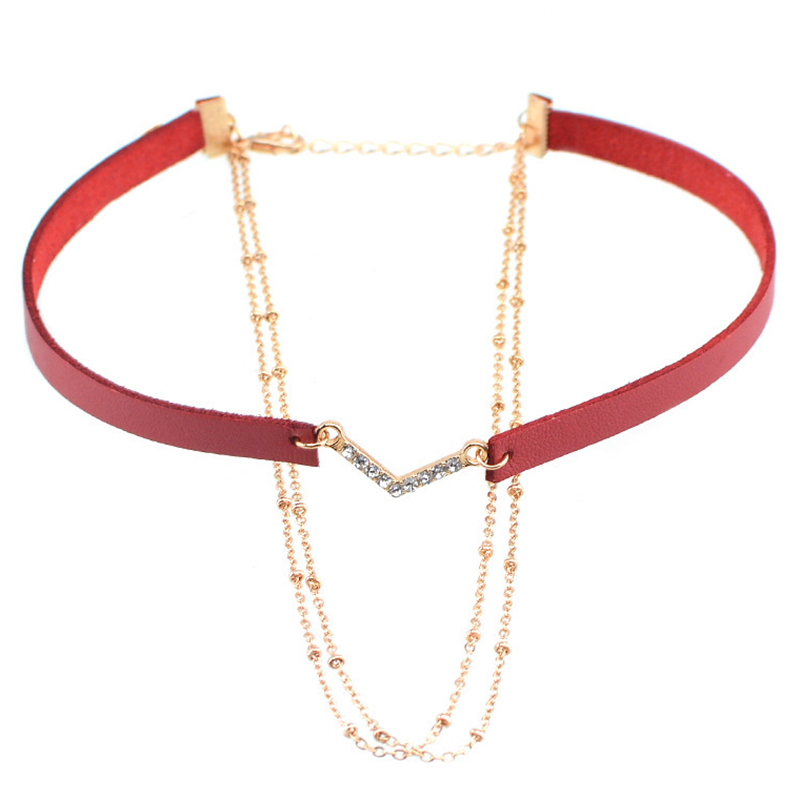 Women V Shaped with Leather Sexy for All Occasions Necklace
