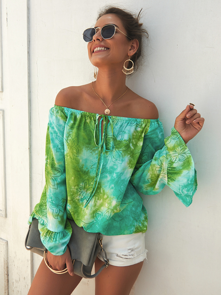 Yoins Green Tie-dye Off The Shoulder Long Sleeves Blouse