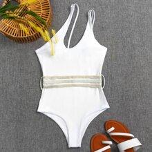 Badeanzug mit Ausschintt und einer Schulter frei