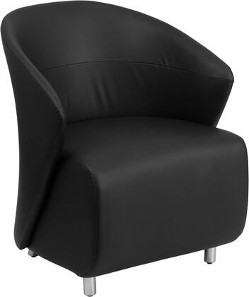 ZB-1-GG Lounge Chair with Curved Barrel Back  Contemporary Style  Stainless Steel Feet  Floor Protector Glides and LeatherSoft Upholstery in Black