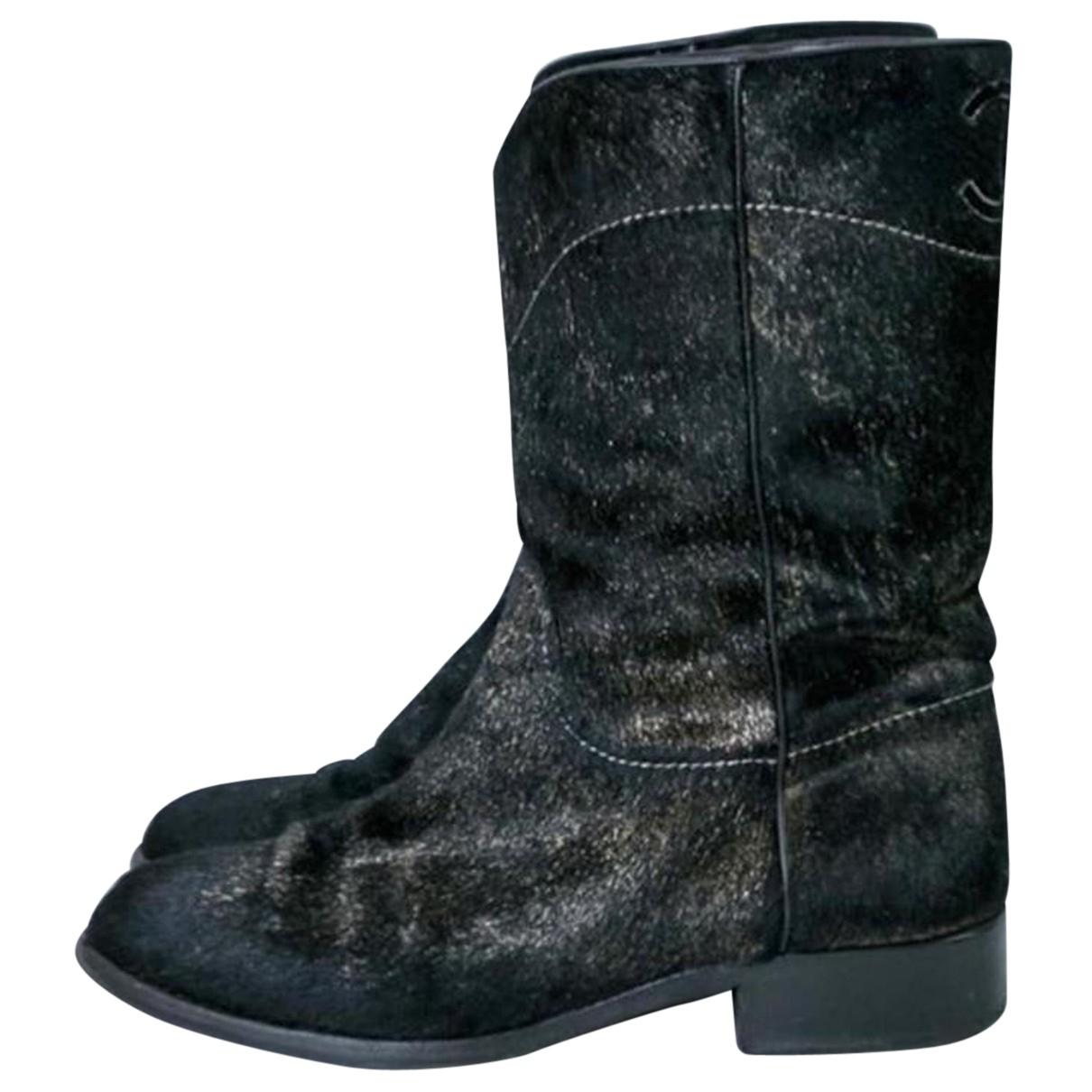 Chanel - Boots   pour femme en veau facon poulain - noir
