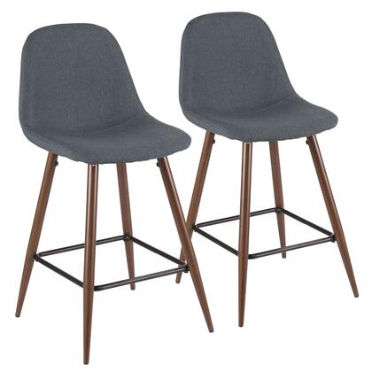 Pebble Collection CS-PEBWL+BU2 Set of 2 Counter Height Stool with Steel Frame  Tapered Legs  Mid-Century Modern Style and Fabric Upholstery in Blue