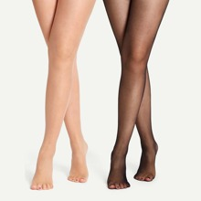 3D Plain Sheer Tights 2pack