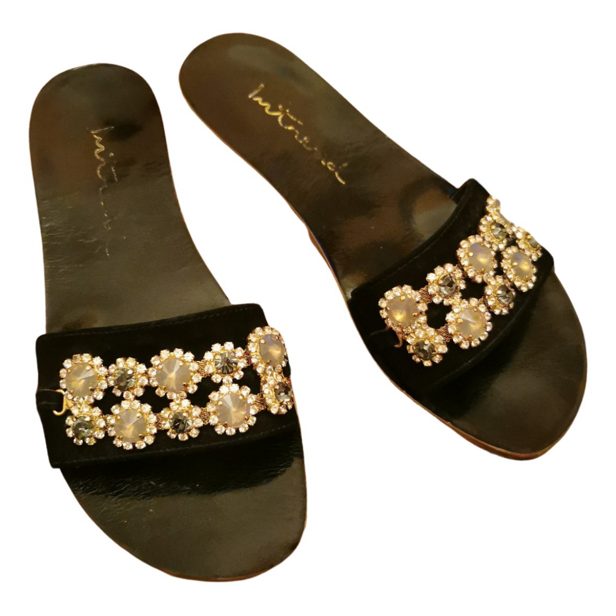Intrend N Black Suede Sandals for Women 37 EU