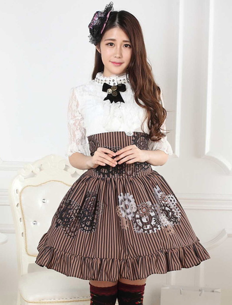 Milanoo Sweet Lolita Skirt Black And White Gear Steampunk SK Lolita Skirt