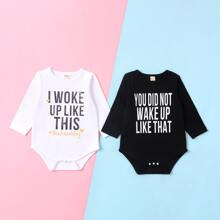 Baby Unisex 2 Pack Slogan Graphic Tee Bodysuit