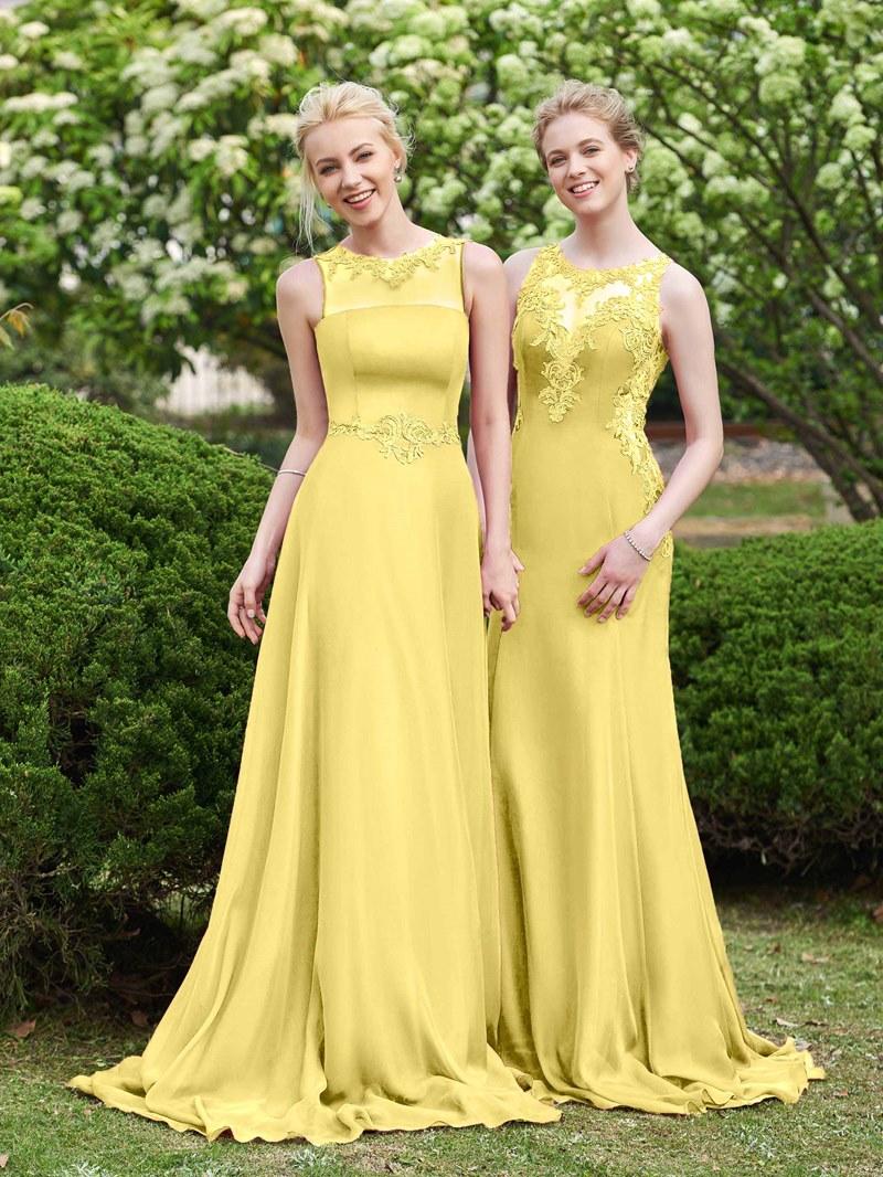 Ericdress Sheer Neck Appliques Bridesmaid Dress