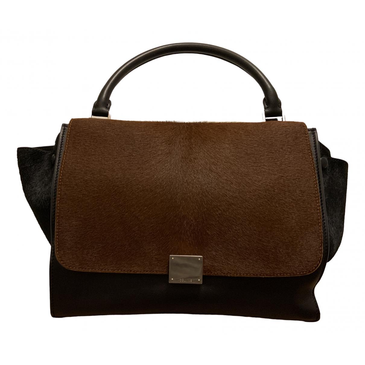 Celine Trapèze Black Pony-style calfskin handbag for Women \N