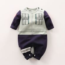 Baby Boy Color Block Graphic Button Jumpsuit