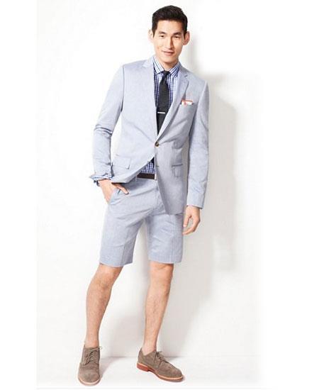 Men's Summer Business Suits  Shorts Pants Set (Sport Coat) Light Gray