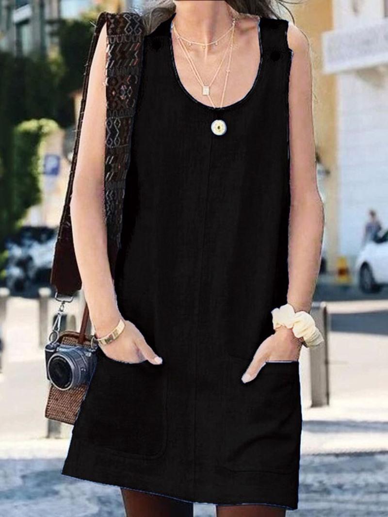 Ericdress Pocket Plain Above Knee Pullover Summer Casual Dress