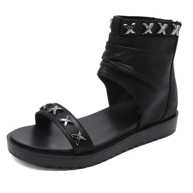 Ericdress Open Toe Zipper Heel Covering High-Cut Upper Sandals