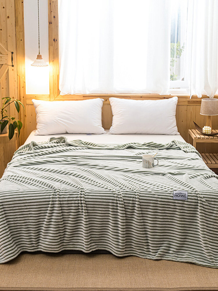 1 Pc Green Winter Double Thick Warmth Coral Fleece Blanket Office Nap Magic Fleece Blanket