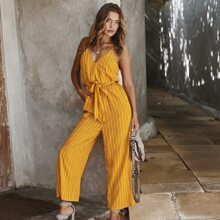 Striped Belted Wide Leg Cami Jumpsuit