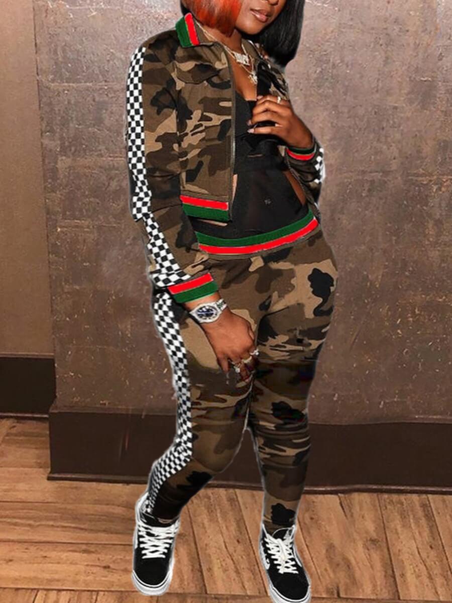 LW Lovely Sportswear Turndown Collar Zipper Design Camo Print Two Piece Pants Set