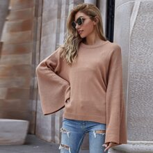 Bell Sleeve Ribbed Knit Sweater