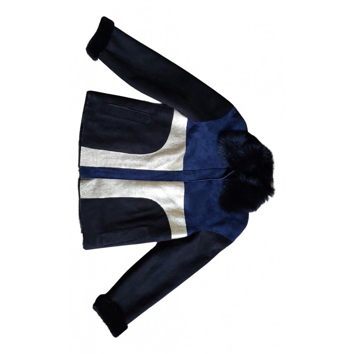 Longchamp - Blouson   pour femme en mouton - bleu