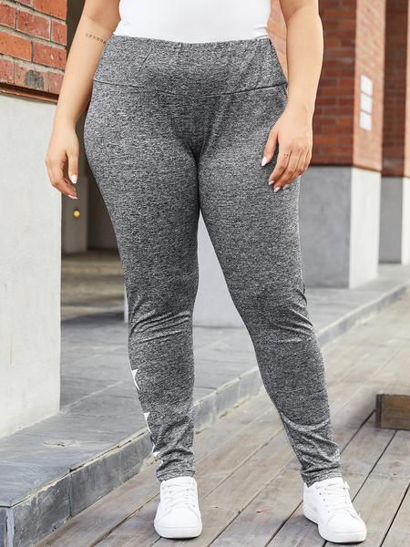 Yoins Plus Size Grey Star Pattern Elastic Waistband Pants