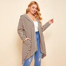 Mantel mit Streifen, zwei Taschen und Kapuze