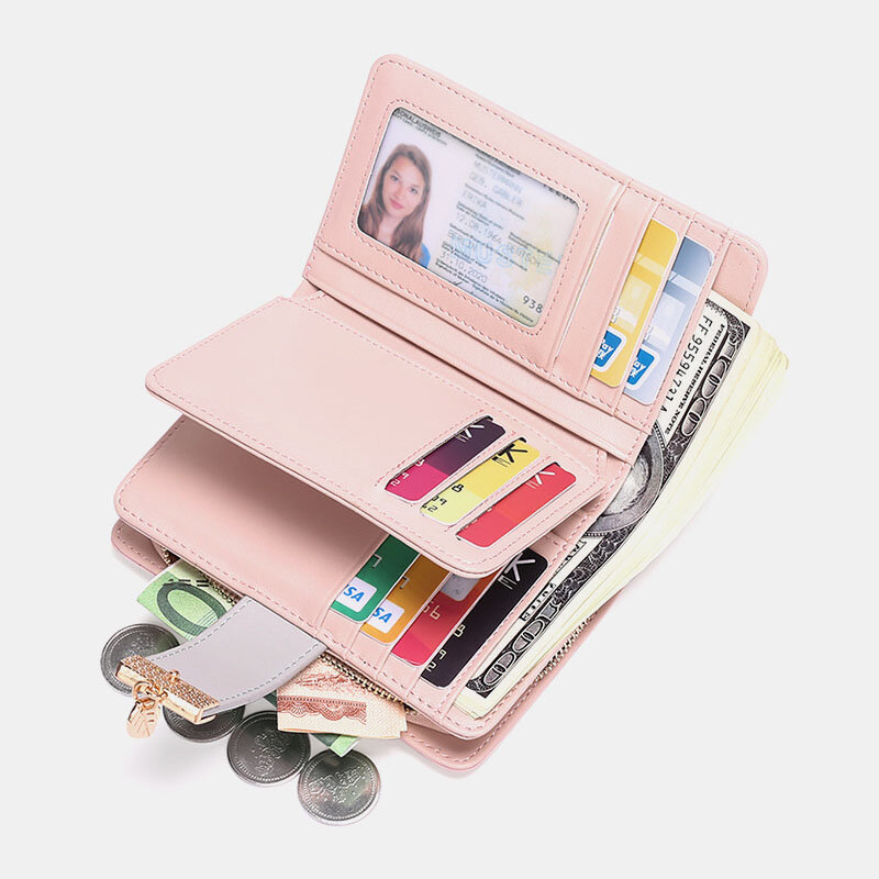 Women Genuine Leather RFID Anti Theft Multi-slots Bifold Wallet Purse