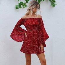 Polka Dot Flounce Sleeve Bardot Dress