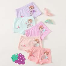 Toddler Girls 5pcs Cartoon And Letter Graphic Underwear