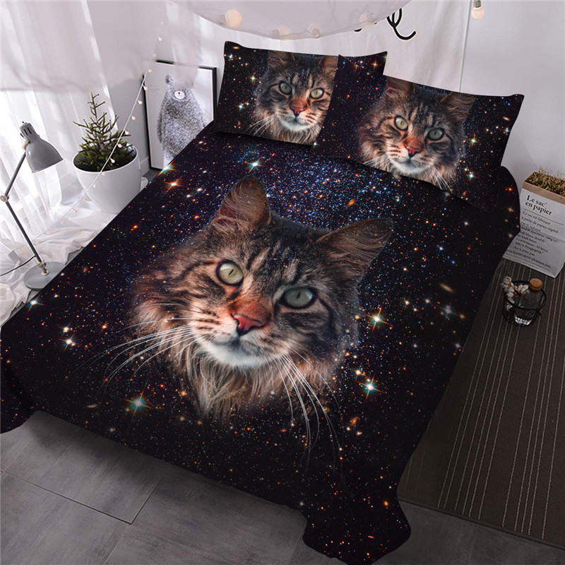 Cat Under The Starry Sky Comforter Set Machine Wash Three-Piece Set Reactive Printing Polyester Bedding Sets
