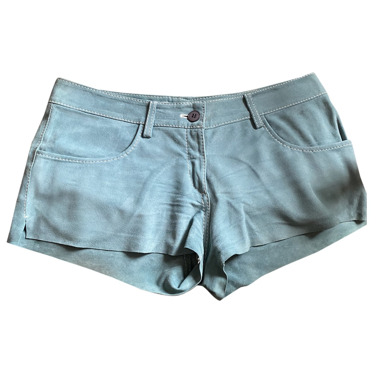 Mauro Grifoni \N Navy Leather Shorts for Women 42 IT