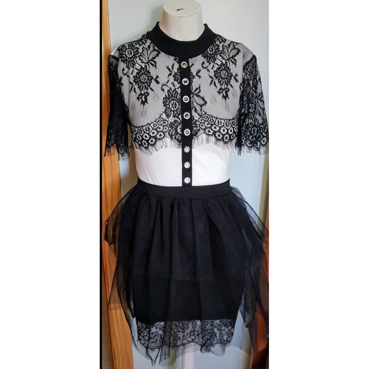 Non Signe / Unsigned \N Kleid in  Weiss Polyester