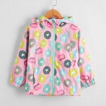 Toddler Girls Donuts Print Hooded Windbreaker Jacket