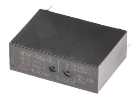 TE Connectivity , 5V dc Coil Non-Latching Relay SPNO, 3A Switching Current PCB Mount Single Pole