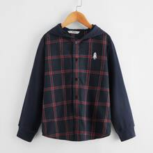 Boys Buttoned Front Rocket Embroidery Plaid Hooded Shirt
